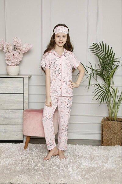 Kız Çocuk Pembe Yaprak Desenli Önden Düğmeli Kısa Kollu Pijama Takımı