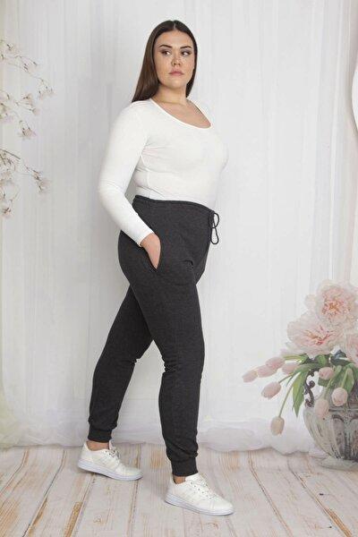 Kadın Antrasit İçi Şardonlu Kumaş Cepli Bel Kısmı Lastikli Spor Pantolon 65N22210