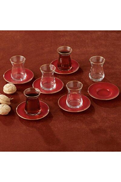 Retro Kırmızı 6 Kişilik Çay Seti