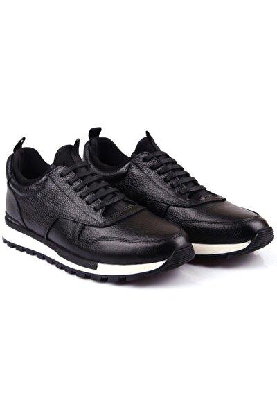 Erkek Siyah Hakiki Deri Spor Günlük Ayakkabı Rd1647-8