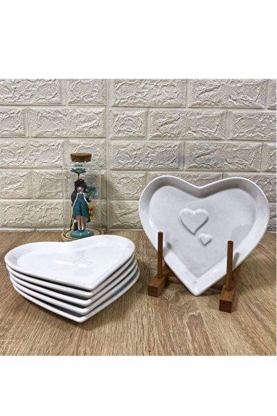 Beyaz Seramik Kalp Pasta Tabağı 20 cm  6'lı