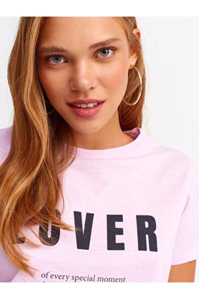3573 Flok Baskılı Basic T-shirt-lila