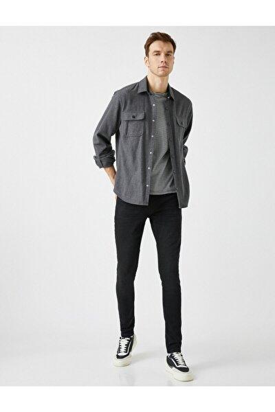 Erkek Siyah Justin Super Skinny Fit Jean Pantolon