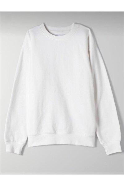 Kadın Beyaz Düz Sweatshirt