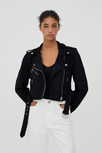 Kadın Siyah Suni Süet Biker Ceket