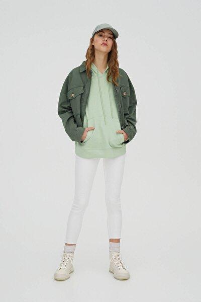 Kadın Beyaz Kapri Skinny Fit Jean