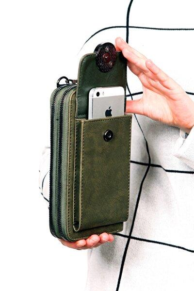 Kadın Haki Renk Omuz Askılı Telefon Bölmeli 2 Fermuarlı Cüzdan Çanta