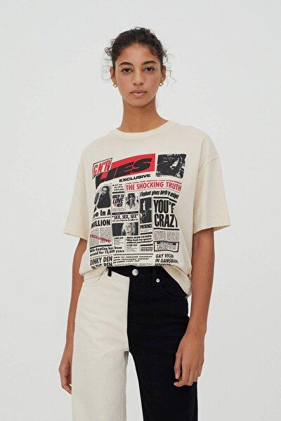 Kadın Bej Guns N' Roses Gazete Görselli T-shirt