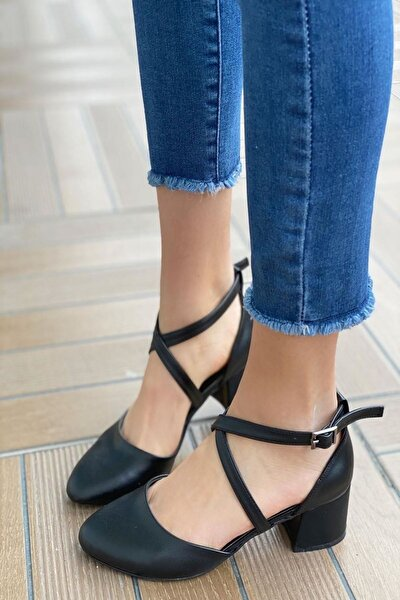 Kadın Albe Mat Deri Siyah Hafif Topuklu Ayakkabı