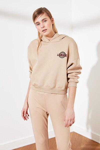 Bej Baskılı Örme Sweatshirt TWOAW21SW0047