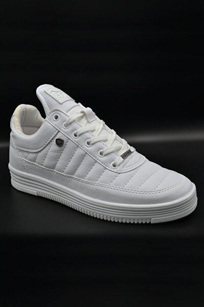 07 Beyaz Beyaz Dikişli Taban Unisex Spor Ayakkabı