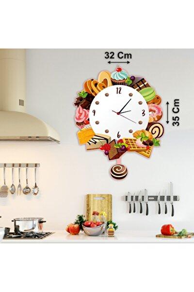 Pasta Kek Figürlü Dekoratif Sarkaçlı (sallanır) Duvar Saati