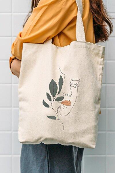 Kadın Bej Kanvas Yaprak Ve Kız Bez Çanta C0601