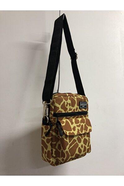 Unisex Kahverengi Zürafa Desenli Omuz ve Çapraz Askılı Çanta