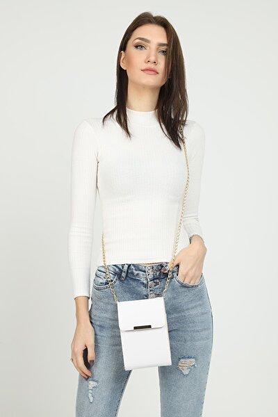 Kadın Beyaz Cüzdan Çapraz Çanta