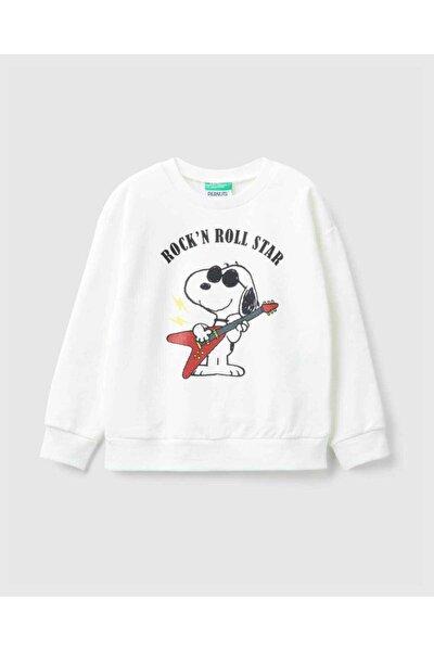 Kız Çocuk Krem Snoopy Baskılı Sweatshirt