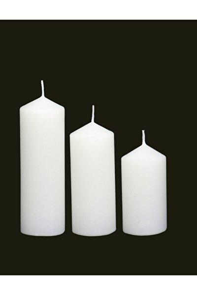 Beyaz Silindir Mum 3'lü Set Pudra Kokulu 4,5 Cm Çap Boylar 6-9-12 Cm