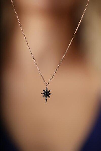 Kadın Kutup Yıldızı Model Siyah Zirkon Taşlı Gümüş İtalyan Kolye