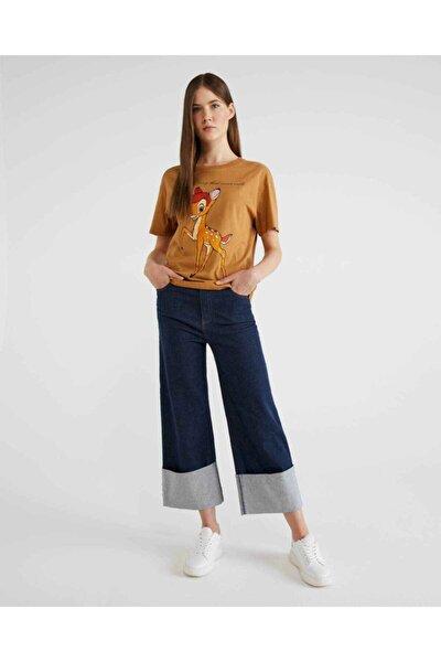 Kadın Mavi Duble Paça Kemer Detaylı Jean