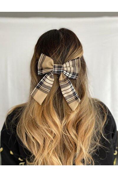 Bej Ekose Desenli Saç Tokası