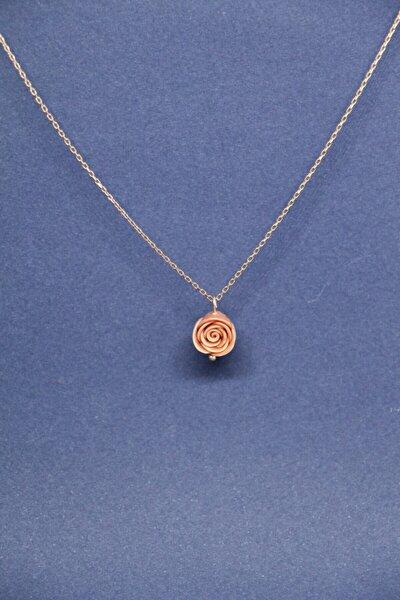 Pembe Gül Minimal Rose Altın Kaplama Gümüş El Yapımı Kolye