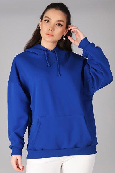 Kadın Saks Mavi Kapüşonlu Sweatshirt
