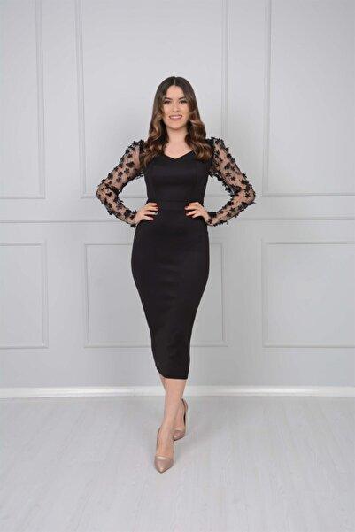 Scuba Kumaş Kolları 3 Boyutlu Çiçekli Kalem Elbise - Siyah