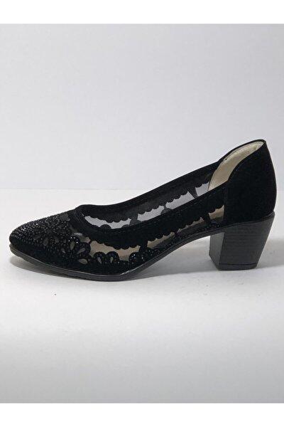 Siyah Kadın Tüllü Kısa Tapuklu Ayakkabı