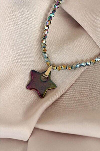 Yıldız Tasarımlı Hematit Taşlı Kadın Kolye