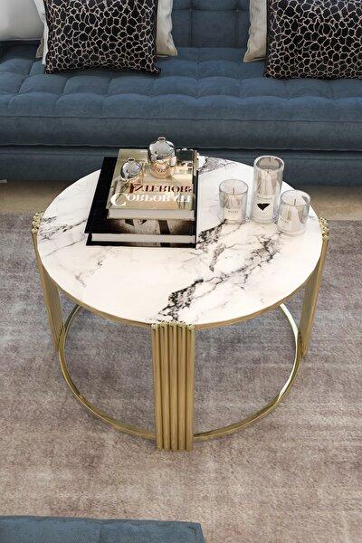 Beyaz Mermer Desenli Ceylan Lüx Şık Gold Orta Sehpa