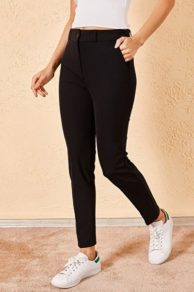Kadın Büyük Beden Siyah Klasik Kumaş Pantolon