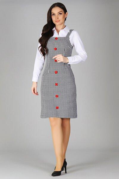 Kadın Siyah Düğme Detaylı Jile Elbise