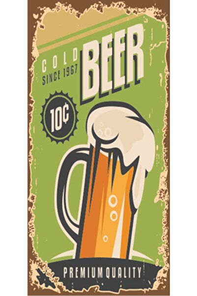 Soğuk Bira Burada Mini Retro Ahşap Poster