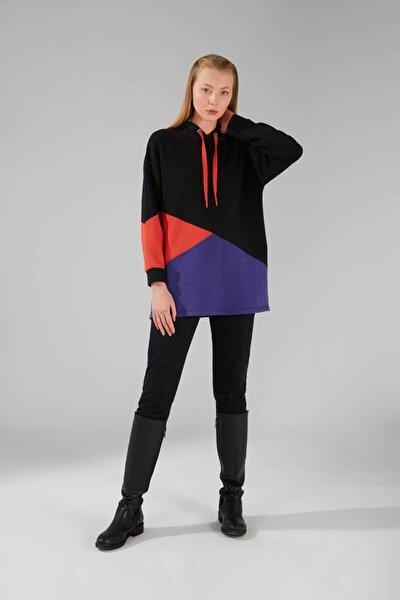 Parçalı Çok Renkli Sweatshirt (SİYAH)