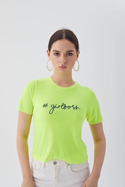 Kadın Sari Girlboss Kaşkorse Tişört