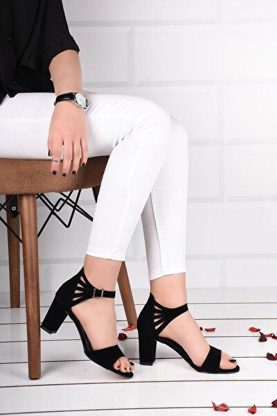 Kadın Siyah Süet Bilek Bağlamalı Topuklu Ayakkabı Ba19094