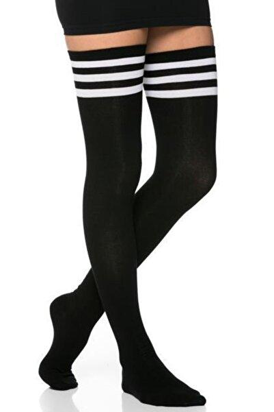 Kadın 3 Şerit Detaylı Pamuklu Siyah Dizüstü Çorap Jartiyer Boy Siyah Uzun Boy Çorap