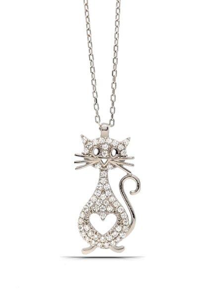 Kedi Tasarım Kadın Gümüş Kolye