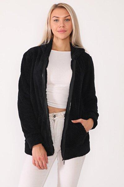 Kadın Siyah Welsoft Kapşonlu Fermuarlı Uzun Sweatshirt 58ne1031b1r16