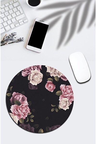 Çiçekli Yuvarlak Mousepad