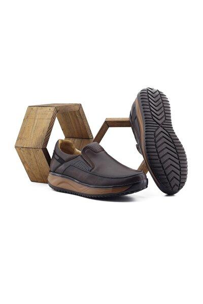 Erkek Kahve Ortopedik Topuk Dikeni Hafif Yürüyüş Ayakkabısı