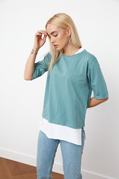 Mint Süprem Parça Detaylı Boyfriend Örme T-Shirt TWOSS20TS0858