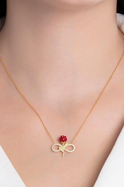 Tamamı Saf 925 Ayar Gümüş Altın Kaplama Zirkon Taşlı Kırmızı Gül Sonsuzluk Modeli Kolye