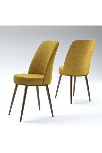 Fulya Hardal Gold Metal Kahve Ayaklı Mutfak Cafe Sandalyesi