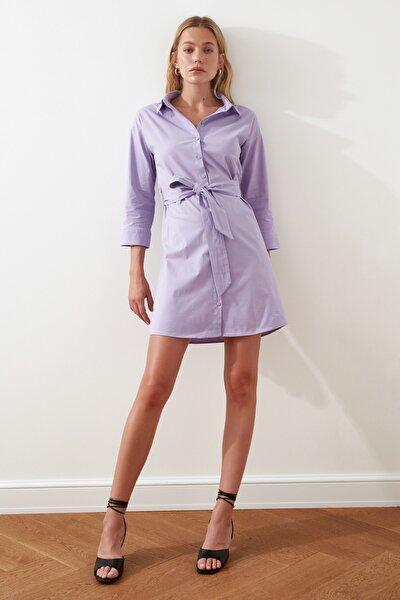 Lila Kuşaklı Gömlek Elbise TWOSS21EL0522