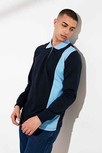 Lacivert Erkek Regular Fit Fermuarlı Uzun Kollu Panelli Polo Yaka T-shirt TMNSS20PO0007