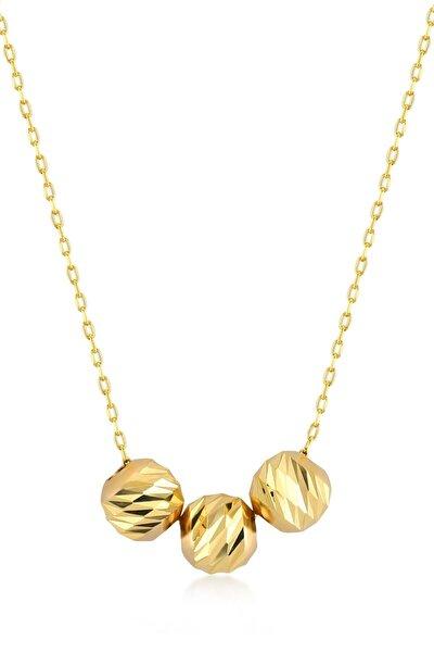 Kadın Altın Kaplama Kalemli Üç Toplu 925 Ayar Gümüş Dorica Kolye