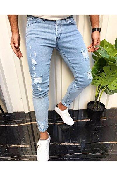 Erkek Buz Mavi Jean Italyan Kesim Denım Lazerli Skinny Kotpantolon