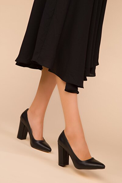 Kadın Siyah Deri Klasik Topuklu Ayakkabı-8cm