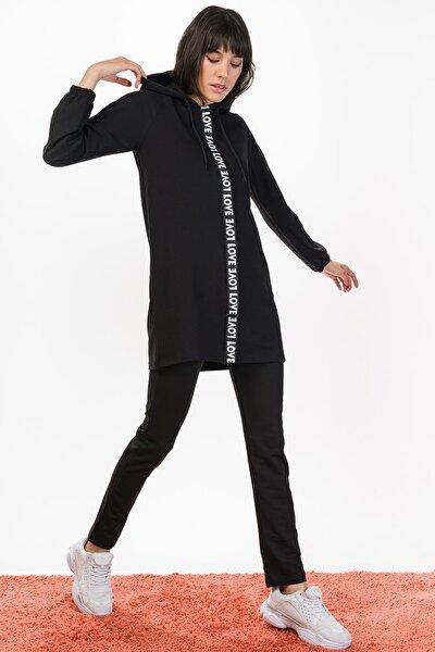 Kadın Siyah Love Tunik Takım